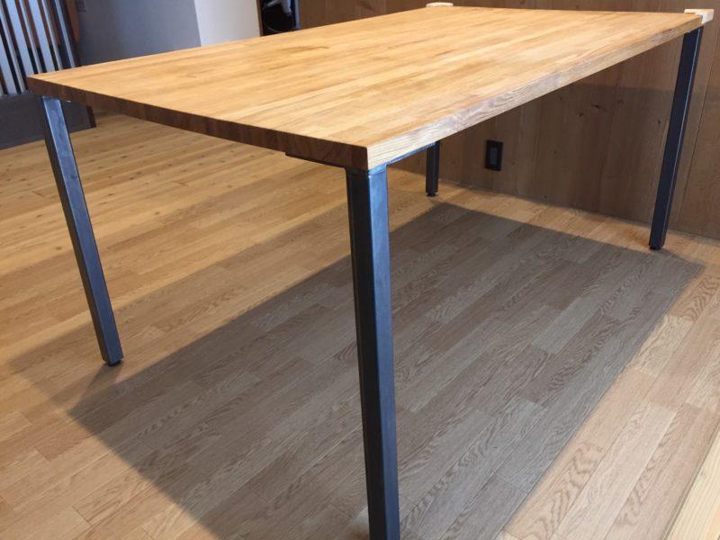 天板と脚だけで無垢タモ材のダイニングテーブルを簡単激安DIY!【レビュー】